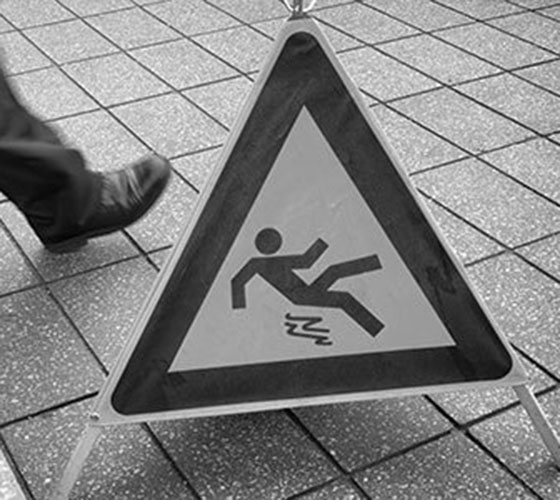 Caution Slippery Floor Stock Photo